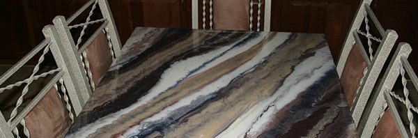 Marbled table